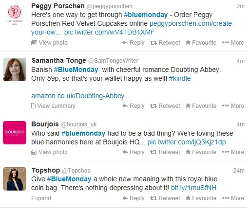 #BlueMonday promotional tweets