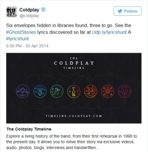 Source: Twitter.com/coldplay
